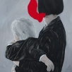 mother and daughter_acrylic, charcoal and wool on canvas_150x80 cm_2017